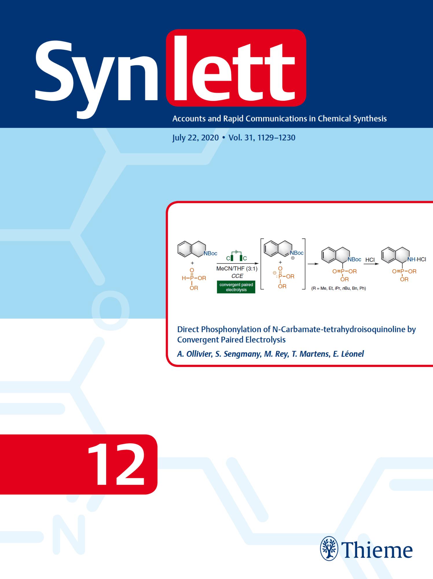 Couverture du volume 31 du journal Synlett (2020)